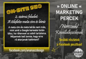 Online marketing percek on-site SEO, meta cím és meta leírás