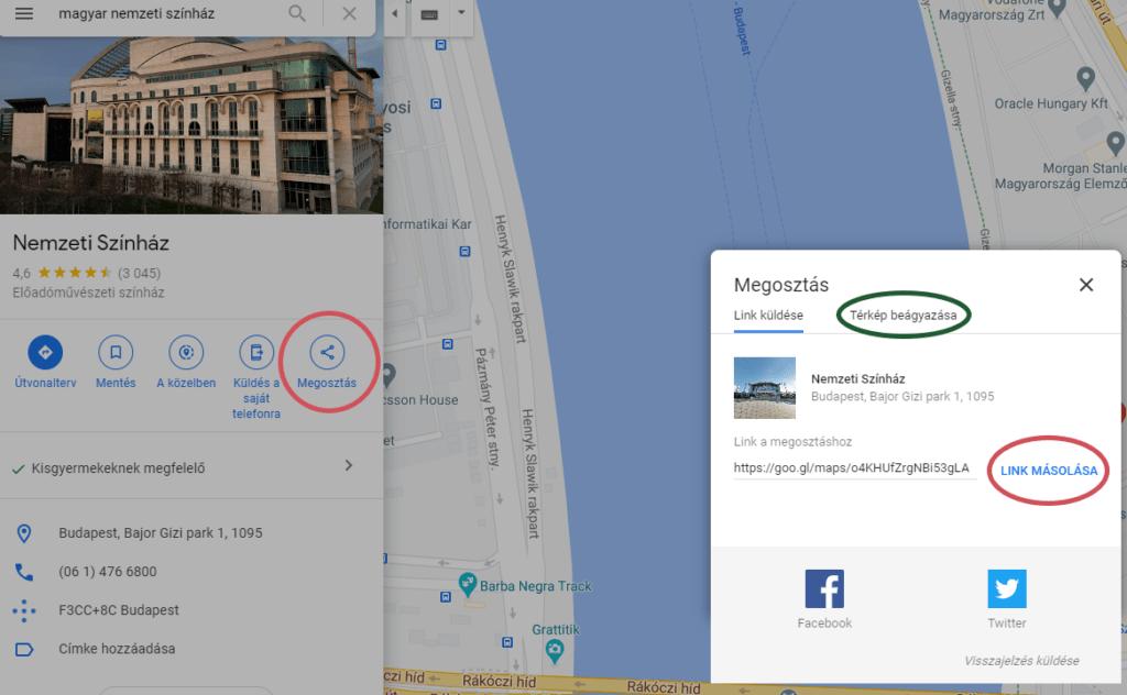 Google térkép beágyazása weboldalba profi weboldal